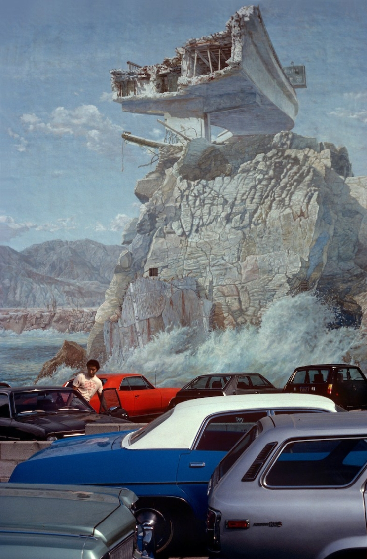 Mural on parking lot wall in West L.A., CA circa 1979