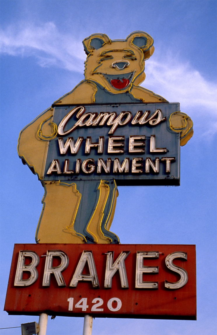 Sign for Campus Wheel Alignment on Westwood Blvd. near UCLA circa 1970s
