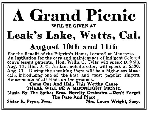 Leak's Lake picnic ad